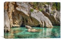 Corfu Sea Caves, Canvas Print