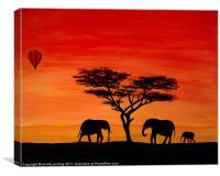 Elephants at sunset, Canvas Print