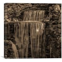 Rocky Waterfall Black and White, Canvas Print