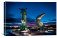 Sunset and the Kelpies , Canvas Print