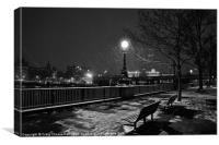 Black and white winter bench