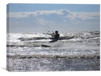 Lone Silhouette kite surfer, Canvas Print