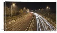 Motorway M62 at Night, Canvas Print