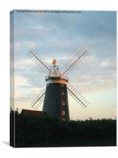 Windmill at Sunset., Canvas Print