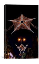 Christmas lights in London close, Canvas Print