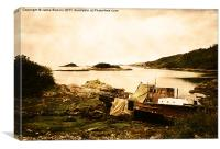 Derelict boat in Outer Hebrides, Canvas Print