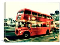 Routemaster, pop art vintage, Canvas Print