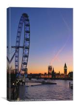 Sunset on river Thames, Canvas Print