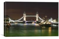 Tower Bridge and HMS Belfast at night, Canvas Print