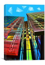 Colors in the City (with clouds), Canvas Print