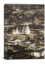Night View over St Pauls, Canvas Print