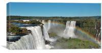 Rainbow over Iguazu Falls., Canvas Print