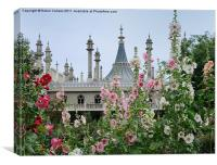 BRIGHTON PAVILION THROUGH THE HOLLYHOCKS, Canvas Print