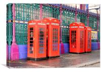 TELEPHONE BOXES AT SMITHFIELD, Canvas Print