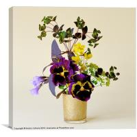 PANSIES IN A GOLD VASE, Canvas Print