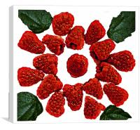 Raspberries on White, Canvas Print