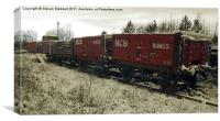 Red Coal Waggons, Canvas Print