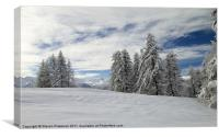 Snowy trees and cloudy mountains, Canvas Print