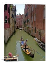 Boating on the canals of Venice, Canvas Print