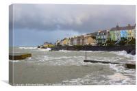 Winter storm batters a narrow harbour entrance, Canvas Print