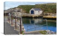 The stone boathouse and slipway at Ballintoy Harbo, Canvas Print