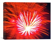 Beautiful  Red Fire Works, Canvas Print