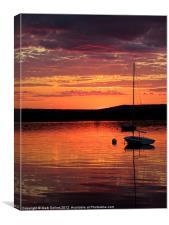 Solitary Sailboat at Sundown, Canvas Print