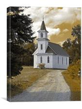 Riverside Presbyterian Church 1800s sepia, Canvas Print