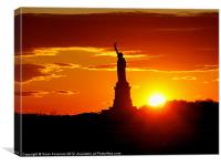 Statue of Liberty at Sunset, Canvas Print