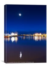 Moon over Aberdeen Harbour, Canvas Print