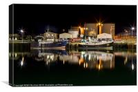 Peterhead Harbour Night Photo, Canvas Print