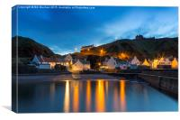 Pennan Harbour Starlights, Canvas Print