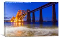 Forth Rail Bridge Blue And Gold, Canvas Print