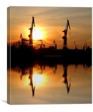 Hamburg Docks, Canvas Print