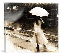 girl in rain, Canvas Print