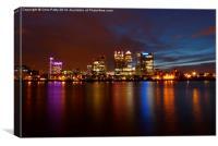 Canary Wharf, London, Night, Canvas Print