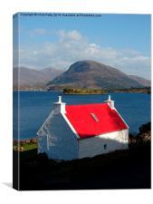 Loch Torridon, Scotland, White Cottage, Canvas Print