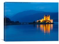 Eilean Donan Castle, Scotland, Night, Canvas Print