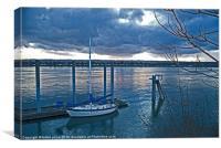 blue sailboat, Canvas Print