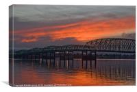 bridge at sunset, Canvas Print