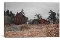 two red barns, Canvas Print