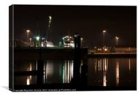 Working dockyard at night, Canvas Print