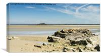 Rocky outcrop near Mont St Michel in Normandy Fra, Canvas Print
