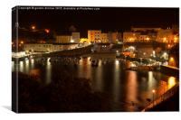 A close view of Tenby harbour at night, Canvas Print