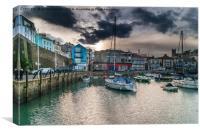 Brixham Harbour with Darkening Sky, Canvas Print
