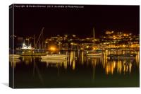 The River Dart and Kingswear at Night, Canvas Print