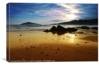 Bantham Beach at sunset, Canvas Print
