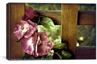 Vintages Roses on Trellis, Canvas Print