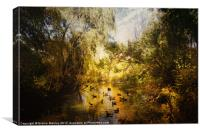 Ducks Along the River, Canvas Print