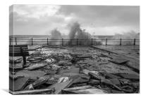 Damaged promenard during cornish storm, Canvas Print